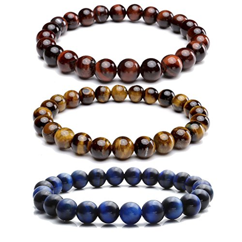 JOVIVI Set of 3 8MM Natural Gemstone Healing Power Round Elastic Stretch Bracelet Variation Colors and Material