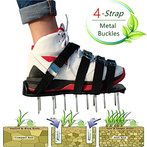 LEHKG Lawn Aerator Shoes, NEW Version Heavy Duty Spiked Sandals for Grass, with 4 Adjustable Straps and Metal Buckles, Best Garden Tools. by LEHKG