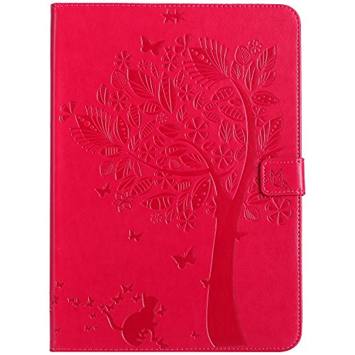 iPad 2017 iPad 9.7 inch Case, BONROY® iPad 9.7 2017 Smart Case Cover Cat and Tree pattern series Ultra Slim Smart-shell Built-in Stand Auto Wake/Sleep For Apple iPad 9.7 2017 Cats and tree - red