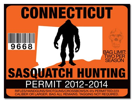 Connecticut-SASQUATCH HUNTING PERMIT LICENSE TAG DECAL TRUCK POLARIS RZR JEEP WRANGLER STICKER 2-PACK!-CT
