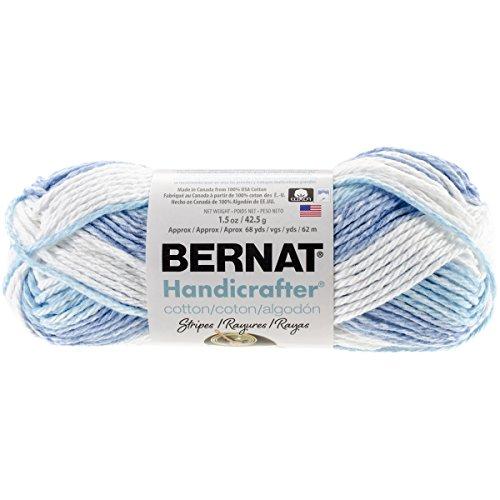 Handicrafter Cotton Stripes (Bernat Handicrafter Cotton Stripes Yarn - (4) Medium Gauge 100% Cotton - 1.5gr -   Tie Die  -  Machine Wash & Dry)
