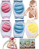 BS® 3 pairs Breathable Elastic Unisex Infant Toddler Baby Knee Arm Pads Baby Knee Elbow Pads Crawling Safety Protector, For 9 months to 24 months Baby, Premium Quality Indoor Outdoor Use