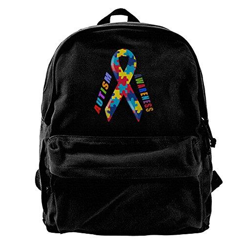 Autism Awareness Ribbon Unisex Vintage Canvas Backpack Travel Rucksack Laptop Bag Daypack Black
