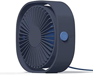 GOFEI Portable Mini Fan - USB Personal Desk Fan with 360° Rotation and Adjustable 3 Speed, Quiet Fan for Office/Outdoor/Travel,Blue