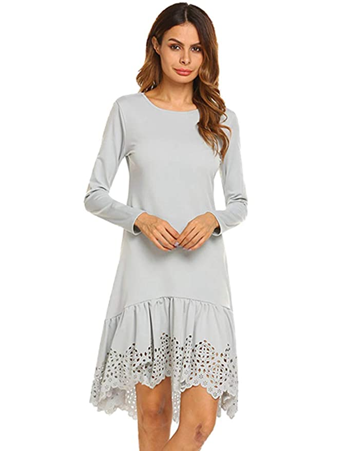 1920s Downton Abbey Dresses Zeagoo Womens Casual Lace Hem Solid Long Sleeve Tunic Maxi Swing Fit and Flare Midi Dress $29.99 AT vintagedancer.com