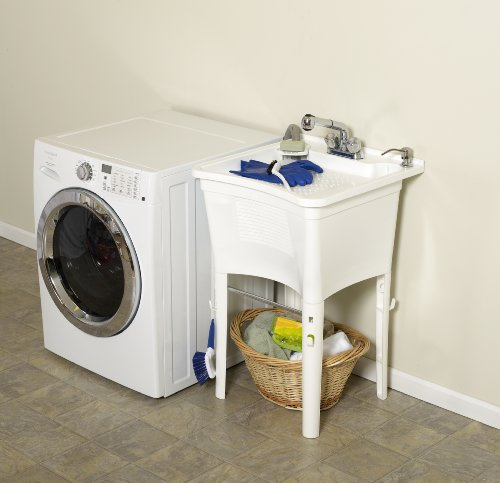 Best Zenna Home Ergotub Elt2006w Freestanding Utility Laundry Tub With Pull Out Faucet White