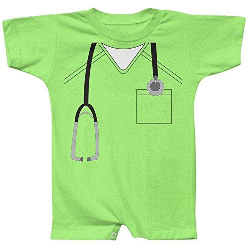 Old Glory Halloween Doctor Scrubs Costume Baby Romper Lime 12 -