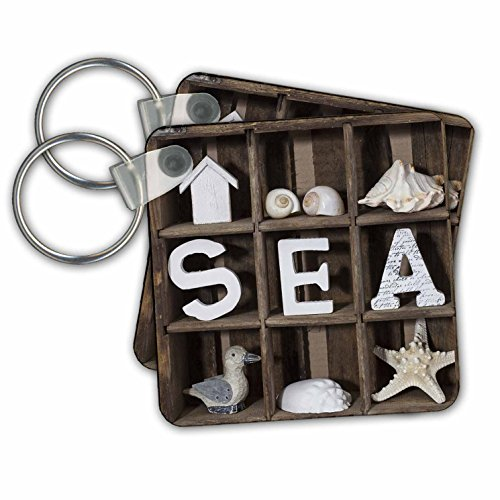 Andrea Haase Still Life Photography - Sea word and beach stuff in old wooden crate - Key Chains - set of 6 Key Chains (kc_266551_3)