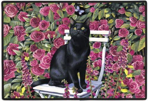Black Cat in the Rose Garden Felines Kittens Doormat Rug Mat
