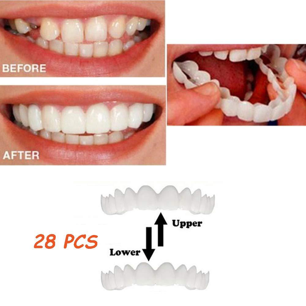 28ピース上下の歯の化粧品のベニヤ矯正歯の完璧な笑顔偽の義歯悪い歯のベニヤ歯ホワイトニングホワイトサイズ男性と女性にフィット B07S6M4LLP