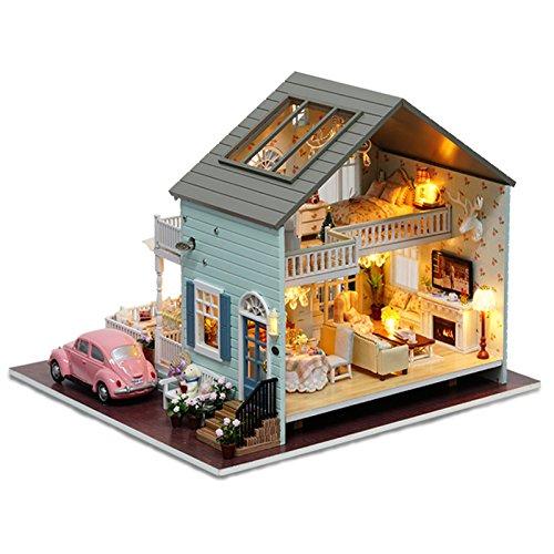 Cuteroom DIY bambole in legno fatto a mano in miniatura kit Queenstown Villa Model /& Furniture /& Voice controller Music Box