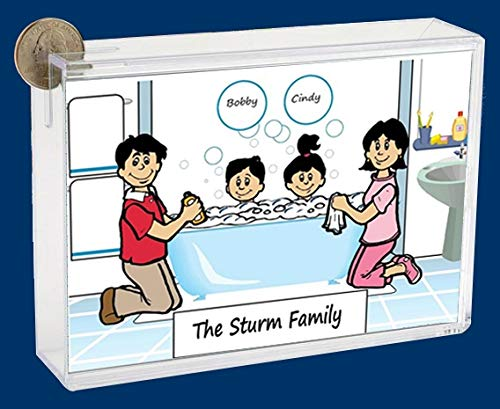 Personalized NTT Cartoon Side Slide Frame Gift: Bath Time 1 boy, 1 Girl Gift, Family Gift