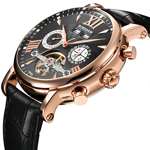 BINSSAW Men Tourbillon Automatic Mechanical Watch Luxury Brand Leather Fashion Casual Stainless Steel Sports Watches for Male by BINSSAW
