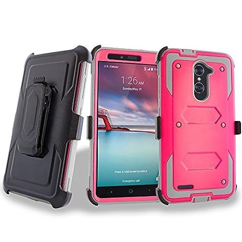 ZTE ZMAX PRO - Mstechcorp, [Built-in Screen Protector] Heavy Duty Full-Body Rugged Holster Armor Case [Belt Swivel Clip][Kickstand]For ZTE ZMAX PRO (2016 Release) / ZTE Carry (Zte Zmax Phone Case Marijuana)