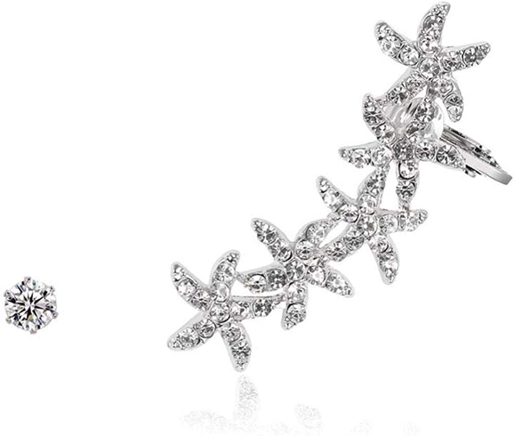 1 par de Pendientes para Mujer, con Piedras Preciosas en Forma de Estrella de mar, escaladores, Pendientes de 18 Quilates chapados en Oro Blanco.