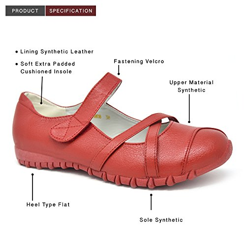 Womens Ladies Flat Ballerina Ballet Dolly Casual Walking Shoes UK Size 3-8 Red - 8808 u4OOiG