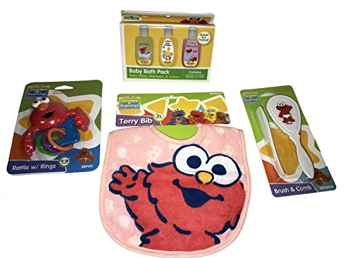 Elmo Baby Set, Includes One Terry Bib, One Rattle With Rings, One Brush And Comb, And A Baby Bath Pack!!