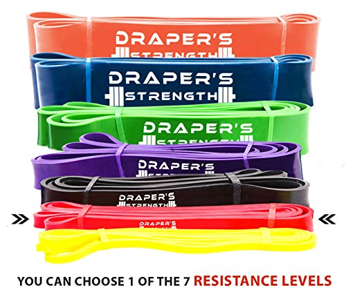 "Draper's Strength Heavy Duty Pull Up Assist and Powerlifting Stretch Bands (Single Band or Set) 41-inch #2 Red (5-35 Lbs) ½"" X 41"" Long"