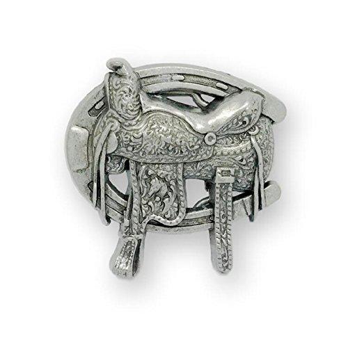 Womens Western Horse Saddle Horseshoe Belt Buckle Silver from KeCol