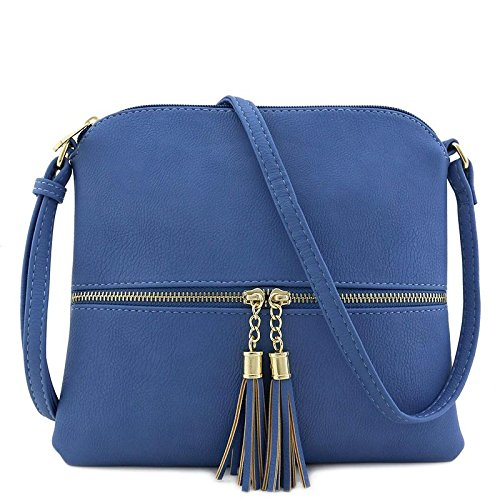 Lightweight Medium Crossbody Bag with Tassel (Denim Blue)