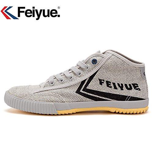 Feiyue Delta Mid Original Sneakers Martial Arts Classic Arts Kungfu Women Men Shoes (EU45, Grey Shoes)