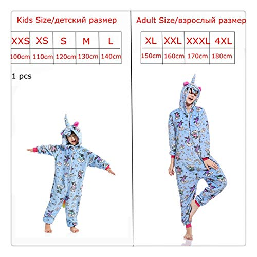 Pink Unicorn Pajamas Sets Flannel Kids Animal Pajamas Winter Nightwear Zipper Sleepwear for Women Men Adults Halloween Zipper 4XL ()