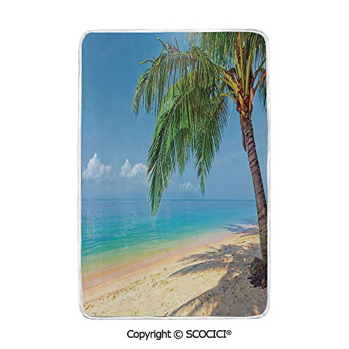 SCOCICI Ultra Comfortable,Cozy and Warm Carpet Blanket Tropic Botanic Image with Coconut Palms Near Ocean Sea Beach Photo No Colour Fading Rug One Side - Multi Rug Tropic Stripes Ocean