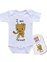 """ I Am Groot "" Cute Custom boutique Baby bodysuit onesie & matching bib"