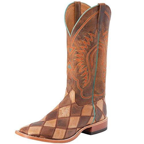 US Brown M NRS Anderson Bean Boys Crazy Train Patchwork Cowboy Boots 5 B