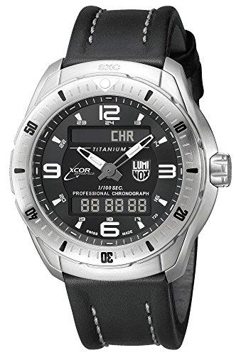 Luminox Men's 'SXC/XCOR Pilot Pro' Swiss Quartz Titanium and Leather Aviator Watch, Color:Black (Model: 5241)