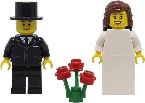 MINIFIGURES NEW CUSTOM LEGO WEDDING BLACK HAIR BRIDE AND GROOM MINIFIGS