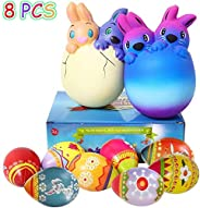 8 Pack Easter Squishies Toys, Slow Rising Jumbo Easter Rabbit and Easter Egg Squishy Perfect for Easter Theme Party Favor, E
