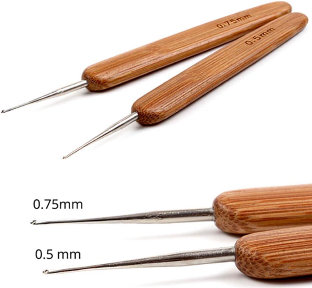 Bamboo Handle Crochet Needles Micro Hooks For Dreadlocks Braids Hair Making Tool