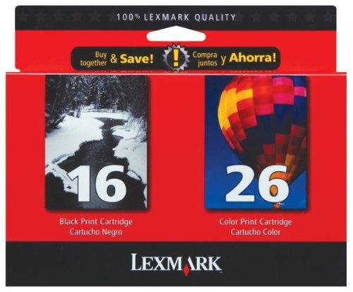 Lexmark 16/26 (10N0202) OEM Genuine Inkjet/Ink Cartridge (Black 10N0016+ Color 10N0026)*1 - Retail by Lexmarkâ¢