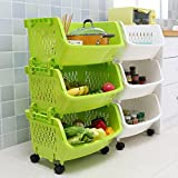 vegetable basket storage - AJ Storage Stacking Bins, Household Kitchen Plastic Stackable Vertical Storage Organizational Bins Vegetable Fruit Food Storage Basket Rack Organizer AJ9001 (3, Green)