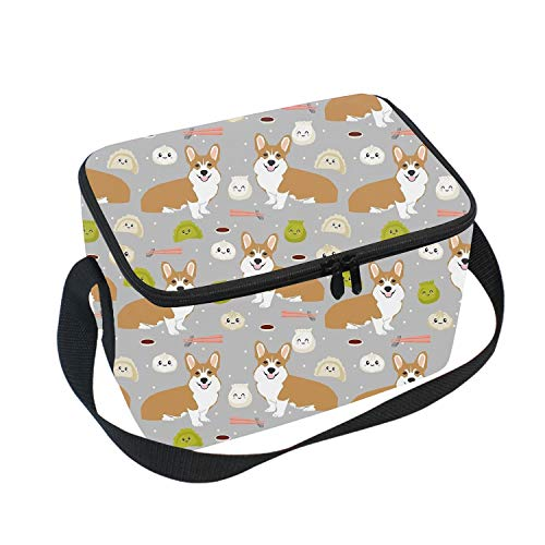 Steamed Stuffed Bun Corgi Insulated Lunch Box Cooler Bag, Cute Lunch Box Backpack