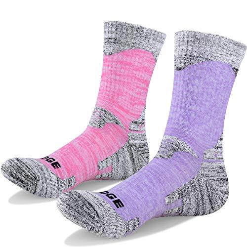 YUEDGE Women's 2 Pairs Cushion Cotton Crew Socks for Outdoors Sports Camping Trekking Walking Hiking