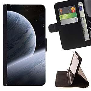 - SPACE STARS BLUE UNIVERSE COSMOS ART PLANETS - - Prima caja de la PU billetera de cuero con ranuras para tarjetas, efectivo desmontable correa para l Funny HouseFOR Apple Iphone 6