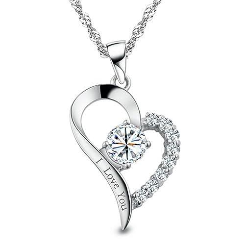 Sojewe Herz Gravierte I love You Halskette 925 Sterling Silber Anhänger  Kette 45cm für Damen  Amazon.de  Schmuck aa543e8362