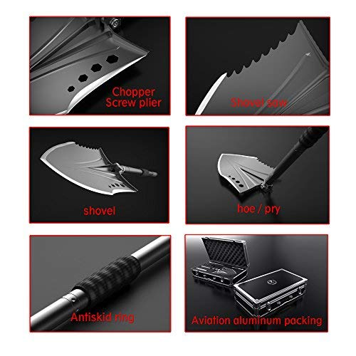 Zune Lotoo Survival Shovel(Crotalus),Casting Steel,with Flashlight,Survival Gear for Adventure, Real-time Search,Camping,Off Road Motors,Brushcraft and Backpacking by Zune Lotoo (Image #4)