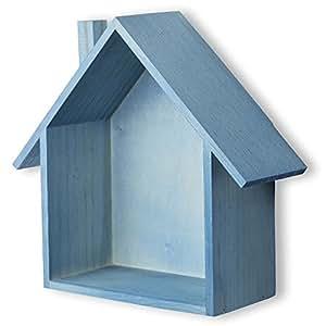 Brightmaison Petite House Shape Wood Wall Shelf Display Hanging Shelving No Finish (Blue)