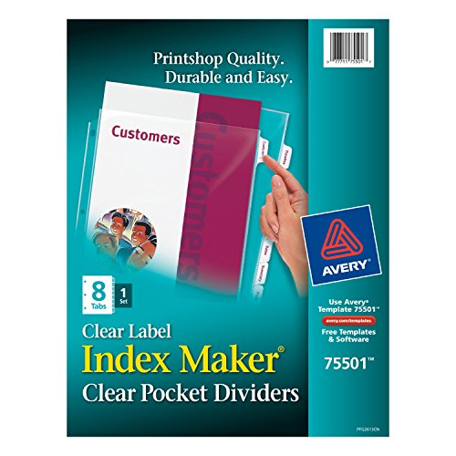Avery Index Maker Label Dividers (Avery Index Maker Clear Pocket Clear Label Dividers, 8-Tab Set (75501))