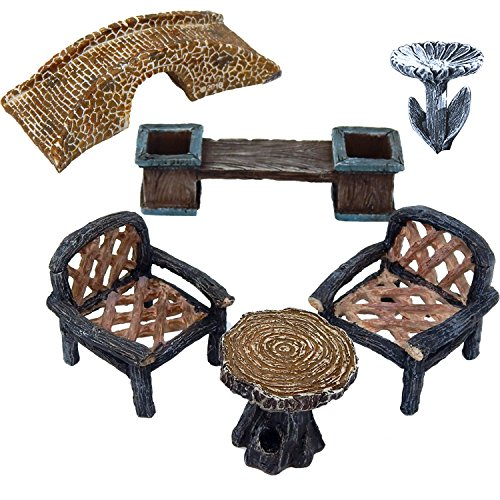 6 Piece Fairy Garden Miniature Village Accessory Furniture Set Kit Bridge, Bench Planter, Table, 2 Chairs and Birdbath Pick Statue Figurines For Terrarium Yard Lawn Patio Indoor and Outdoor Decor