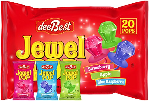 Jewel Pop Ring Shaped Hard Candy - 40 Count (20 Individuals Per Bag, Pack of 2) - Disc Pop