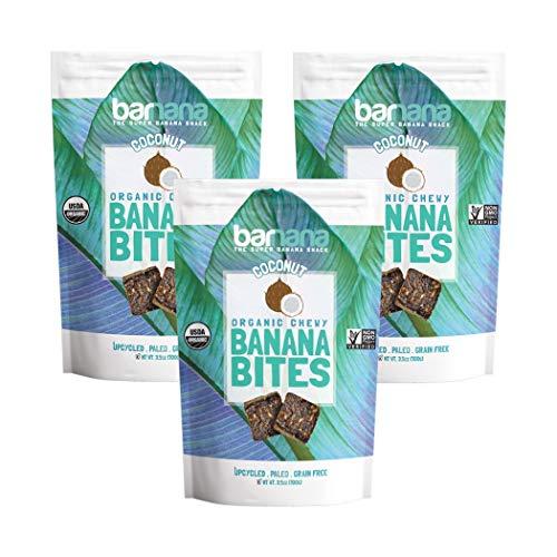 - Barnana Organic Chewy Banana Bites - Coconut - 3.5 Ounce, 3 Pack Bites - Delicious Barnana Potassium Rich Banana Snacks - Lunch Dinner Sports Hiking Natural Snack - Whole 30, Paleo, Vegan