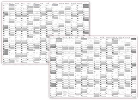 XXL Wandkalender DIN A0 2021 + 2022 gerollt (grau2) Wandplaner sehr groß im Format (840 x 1188 mm) mit extra großen Tageskästchen (Jahreskalender werden gerollt versendet)