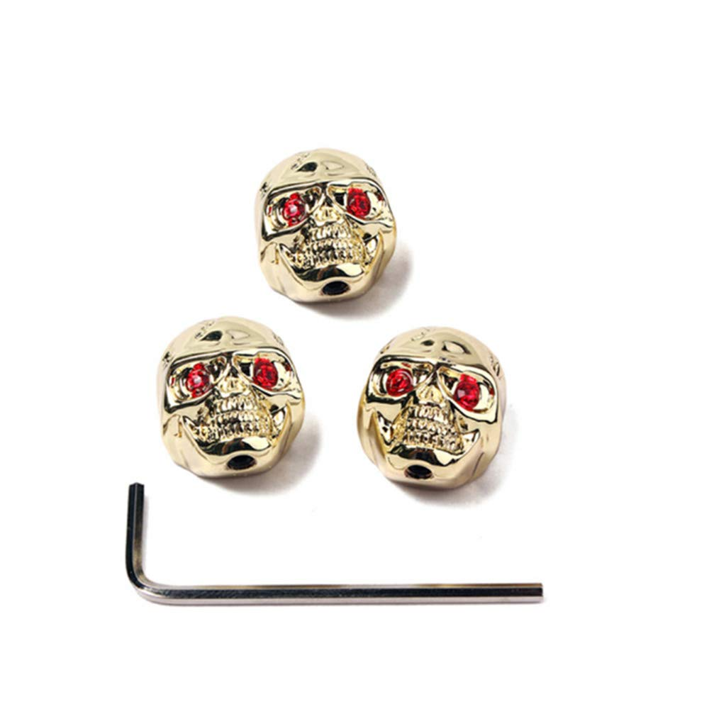 DISENS Skull Head Volume Tone Control Knobs Buttons with Allen Wrench for Electric Guitar Replacement Parts /& Accessories Black