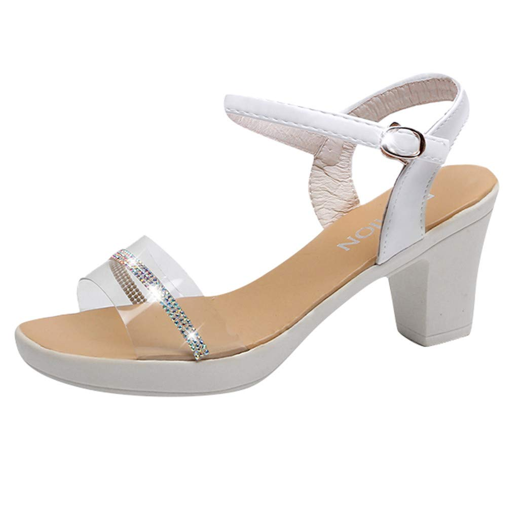 AHAYAKU Women's Fashion Fish Mouth Sandals Platform Crystal Buckle Strap Sandals White by AHAYAKU