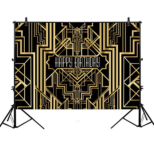 Allenjoy 7x5ft photography backdrops Great Gatsby Birthday Adults children party black and gold golden banner photo studio booth background newborn baby shower photocall (Gatsby Backdrop)