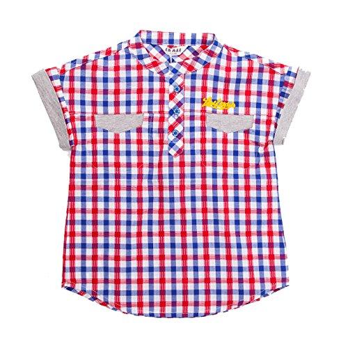 Boys' Casual Western Plaid Short Sleeve Cotton Round Neck Check Shirt (4-6Y, Burgundy)